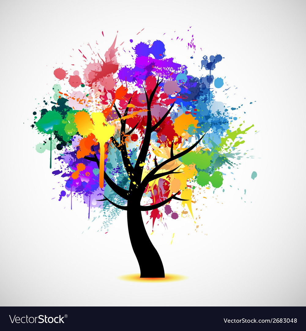 Multi colored paint splat abstract tree vector | Price: 1 Credit (USD $1)