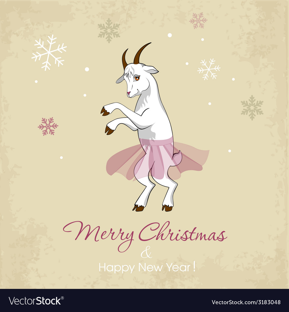 New year card with a dancing white goat vector | Price: 1 Credit (USD $1)