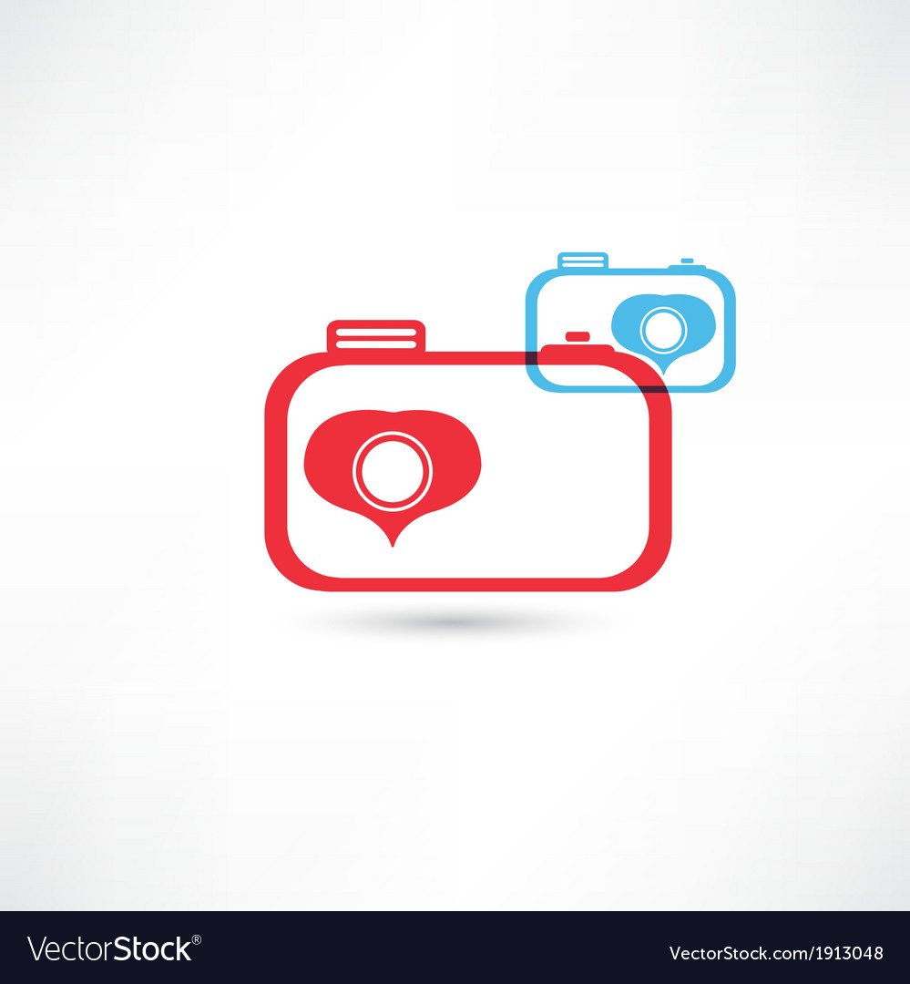 Red and blue nice cameras icon vector   Price: 1 Credit (USD $1)