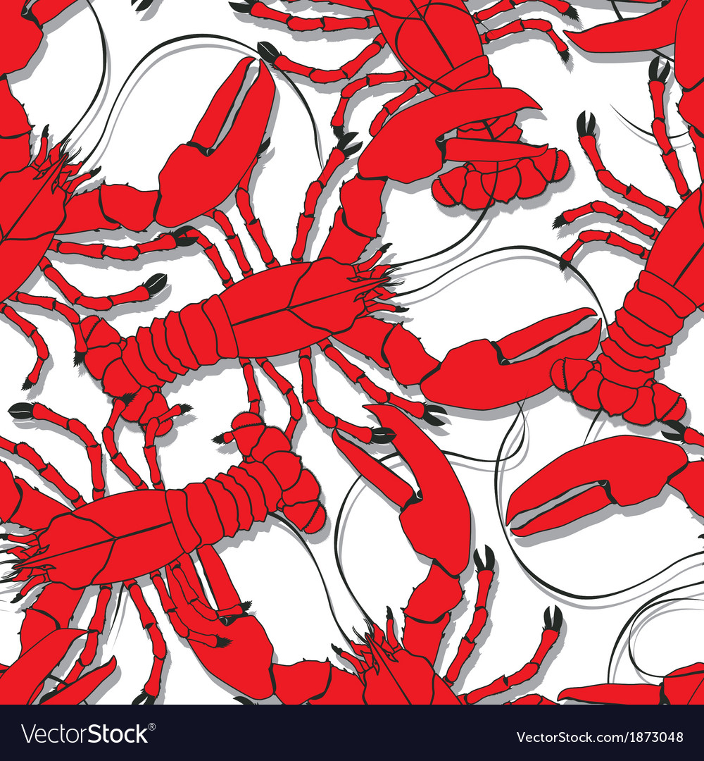 Red lobsters pattern vector | Price: 1 Credit (USD $1)