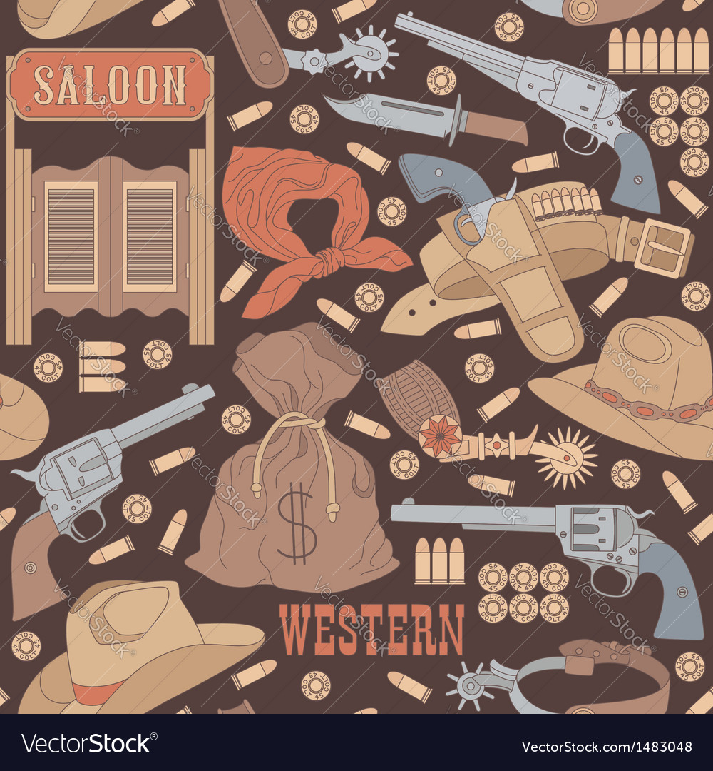 Western seamless pattern vector | Price: 3 Credit (USD $3)