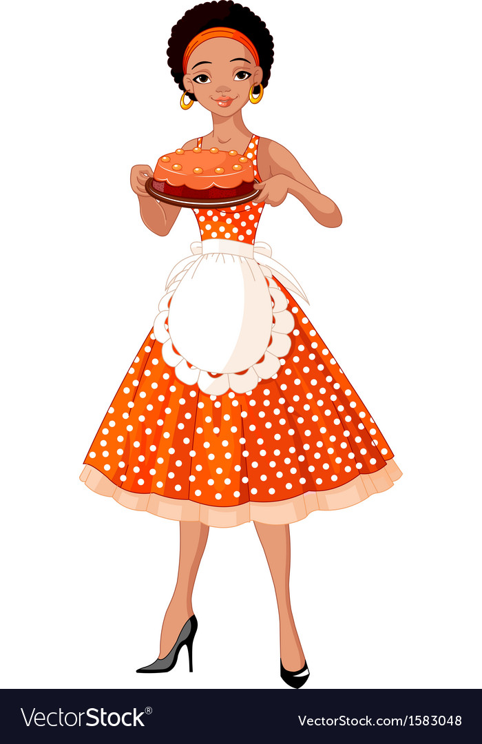Young lady serving cake vector | Price: 1 Credit (USD $1)