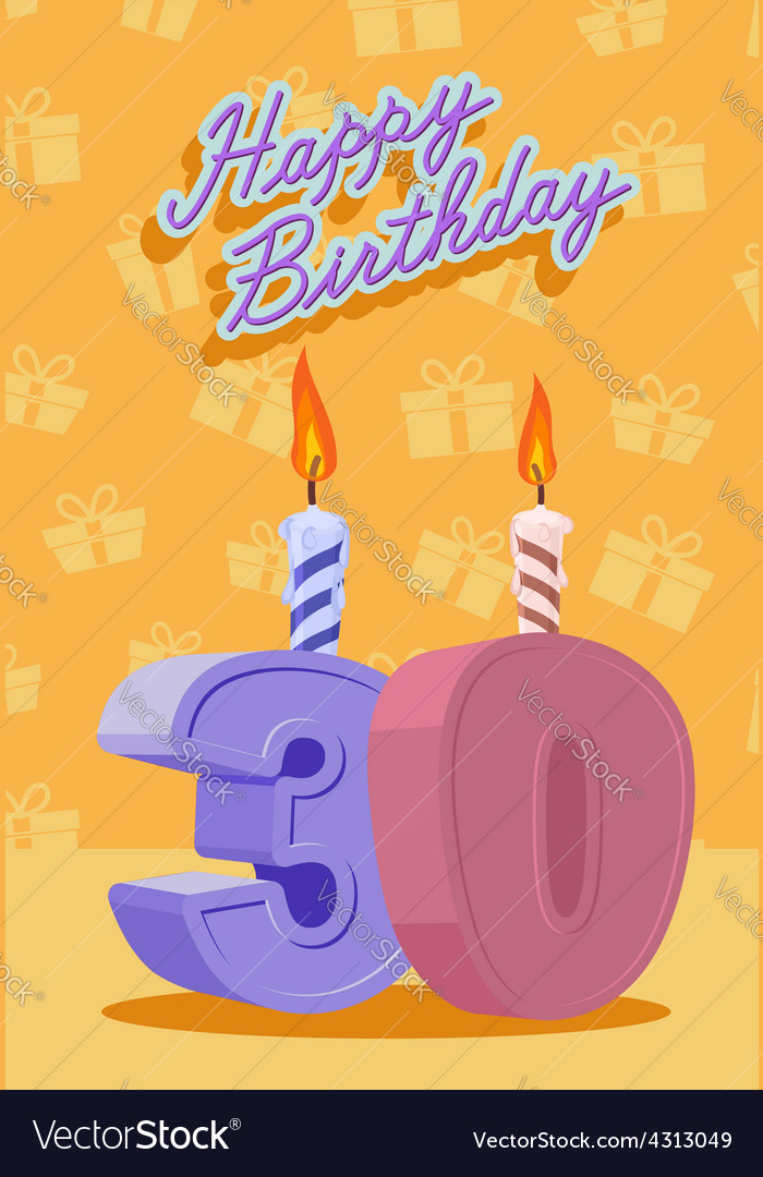 30 years celebration 30nd happy birthday vector | Price: 1 Credit (USD $1)