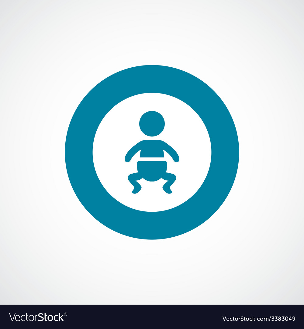 Baby bold blue border circle icon vector | Price: 1 Credit (USD $1)