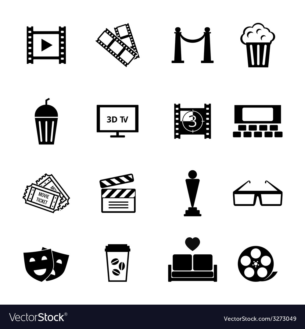 Black and white movie icon designs vector | Price: 1 Credit (USD $1)