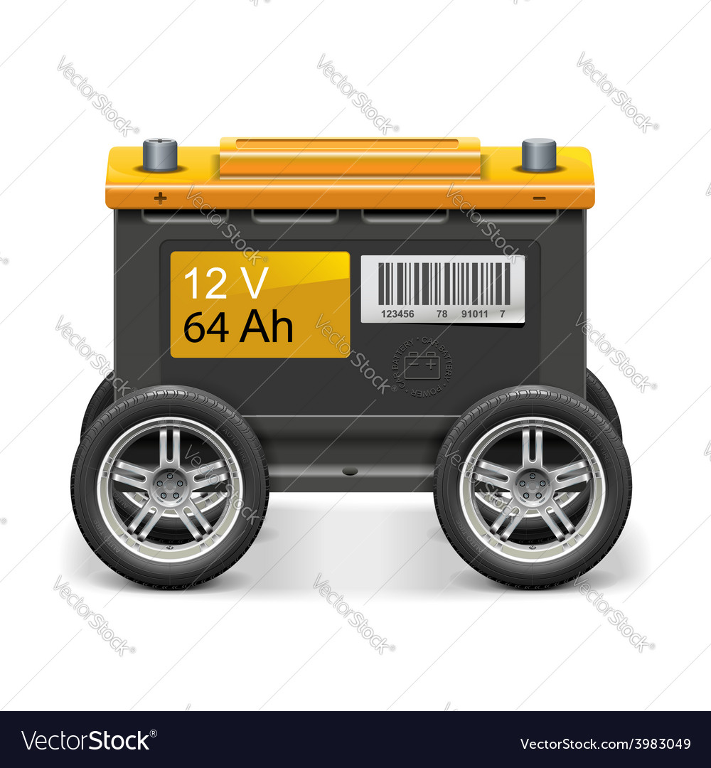 Car battery on wheels vector | Price: 3 Credit (USD $3)