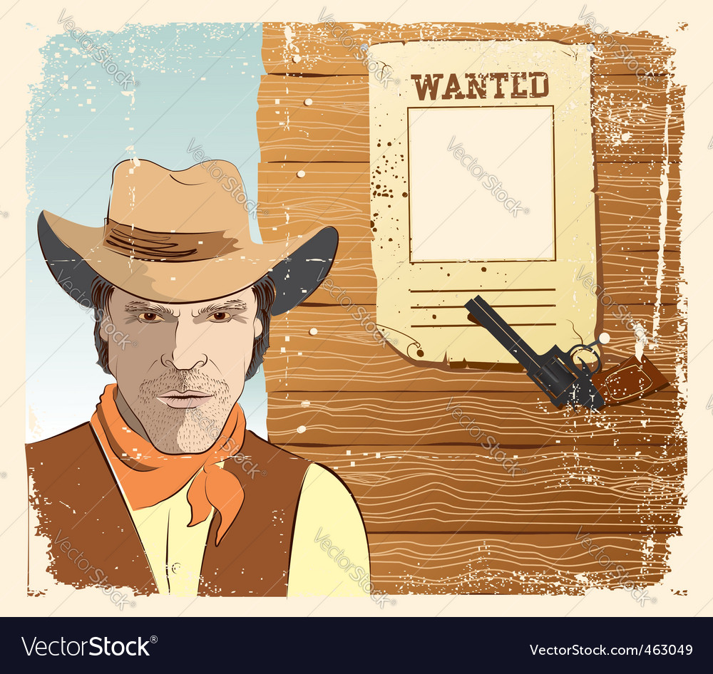 Cowboy and gun vector | Price: 3 Credit (USD $3)