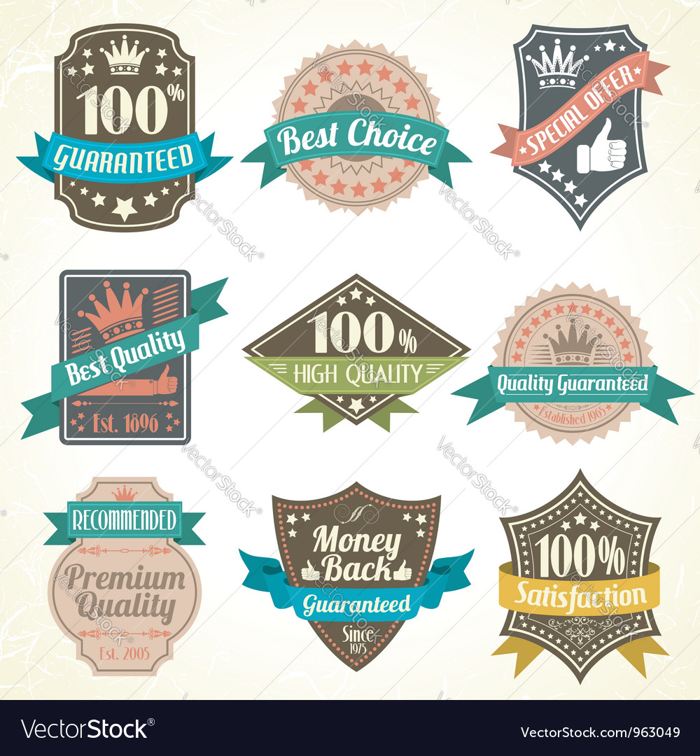 Quality and guarantee labels vector | Price: 3 Credit (USD $3)