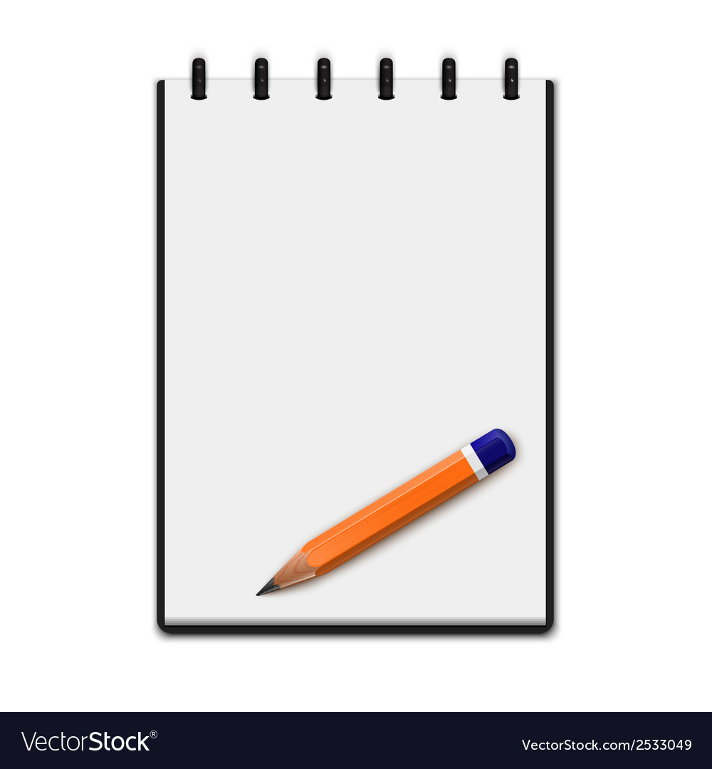 Realistic blank notepad with pencil vector | Price: 1 Credit (USD $1)