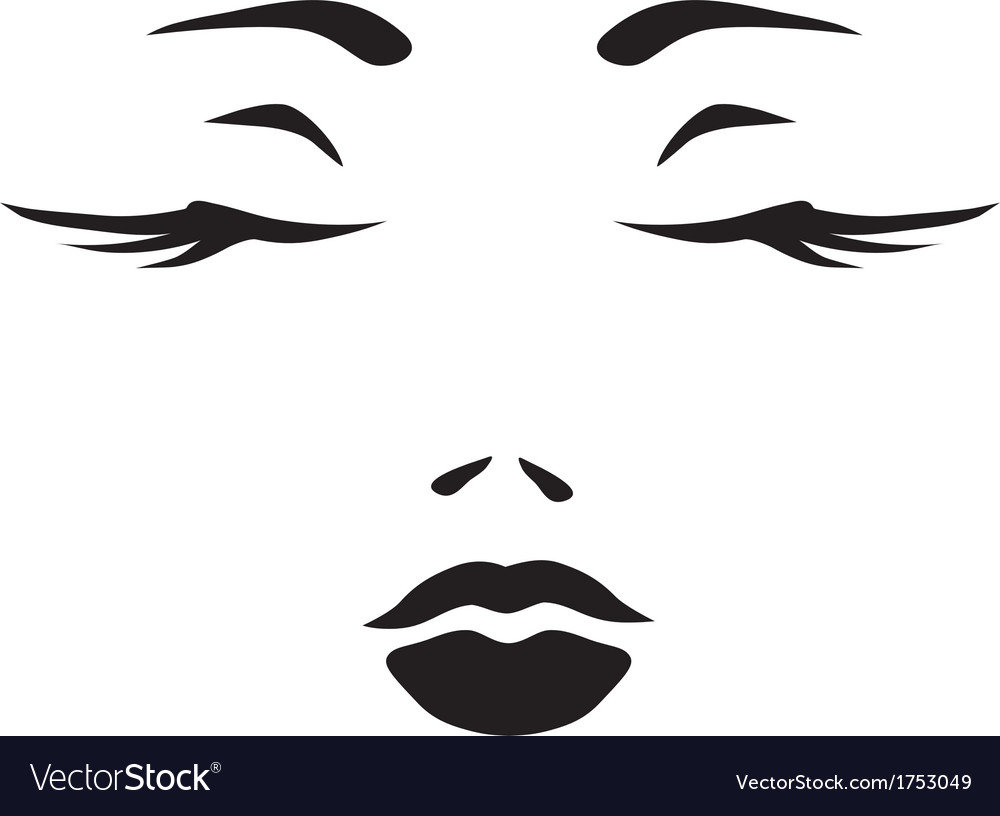 Symbol monochromatic face of woman vector | Price: 1 Credit (USD $1)