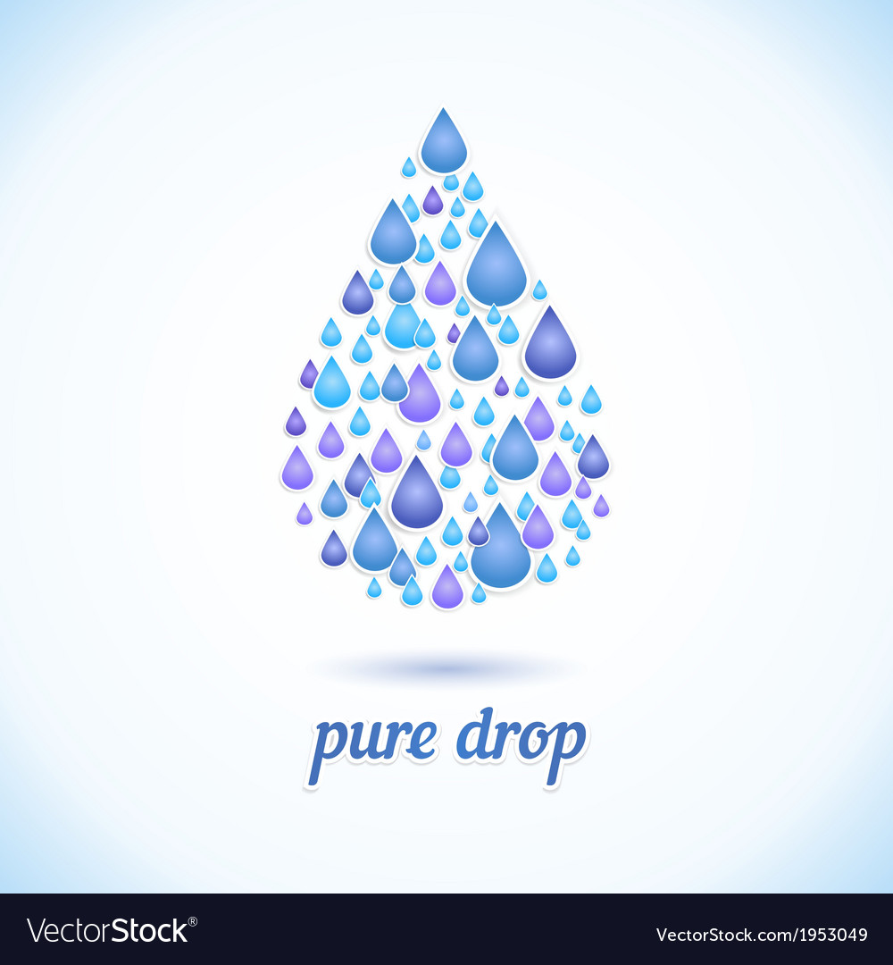 Water drop with shadow vector | Price: 1 Credit (USD $1)