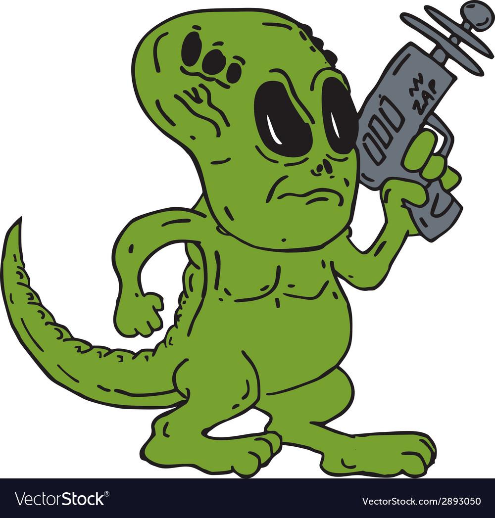 Alien dinosaur holding ray gun cartoon vector   Price: 1 Credit (USD $1)