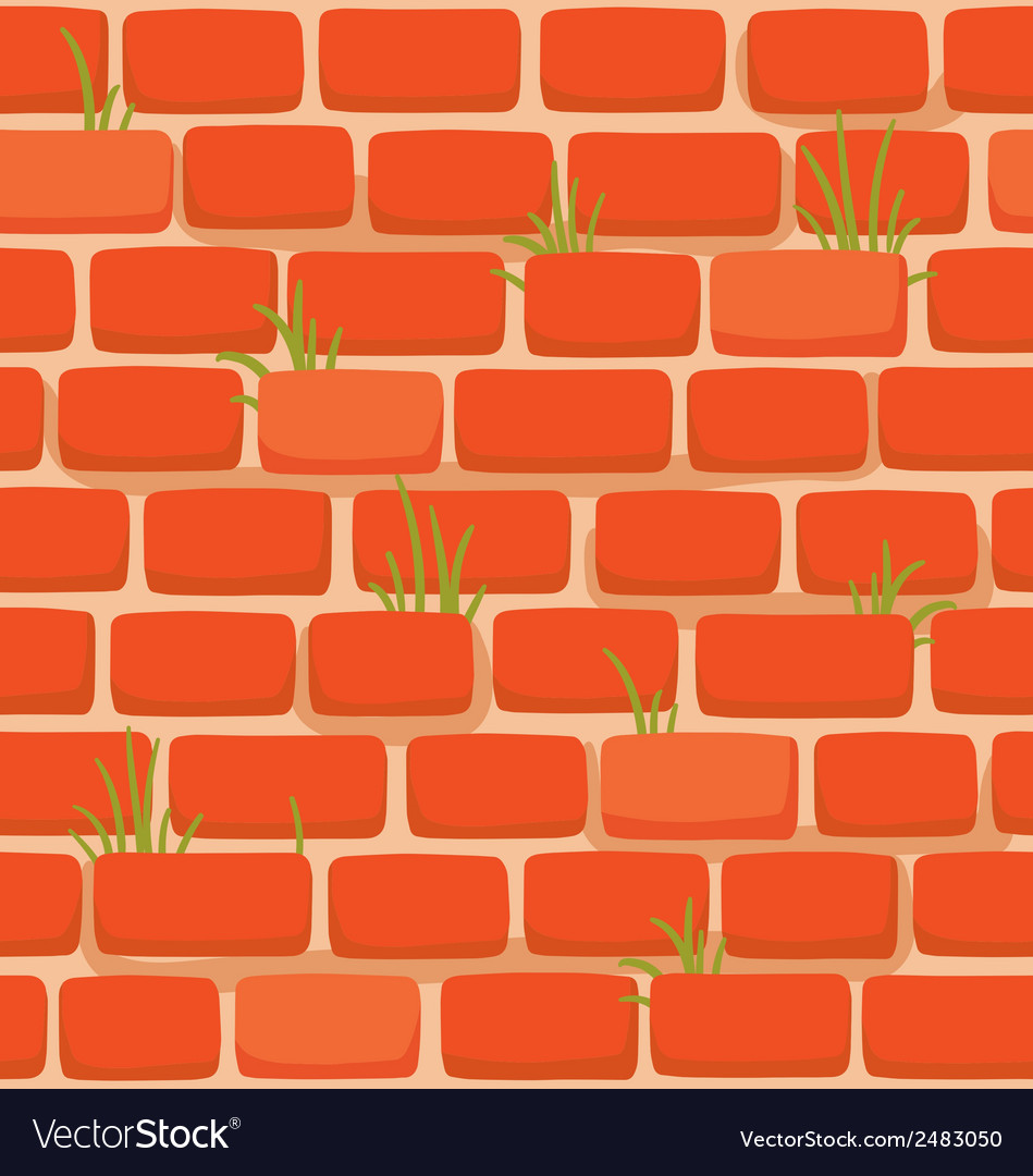 Brick wall with grass vector | Price: 1 Credit (USD $1)