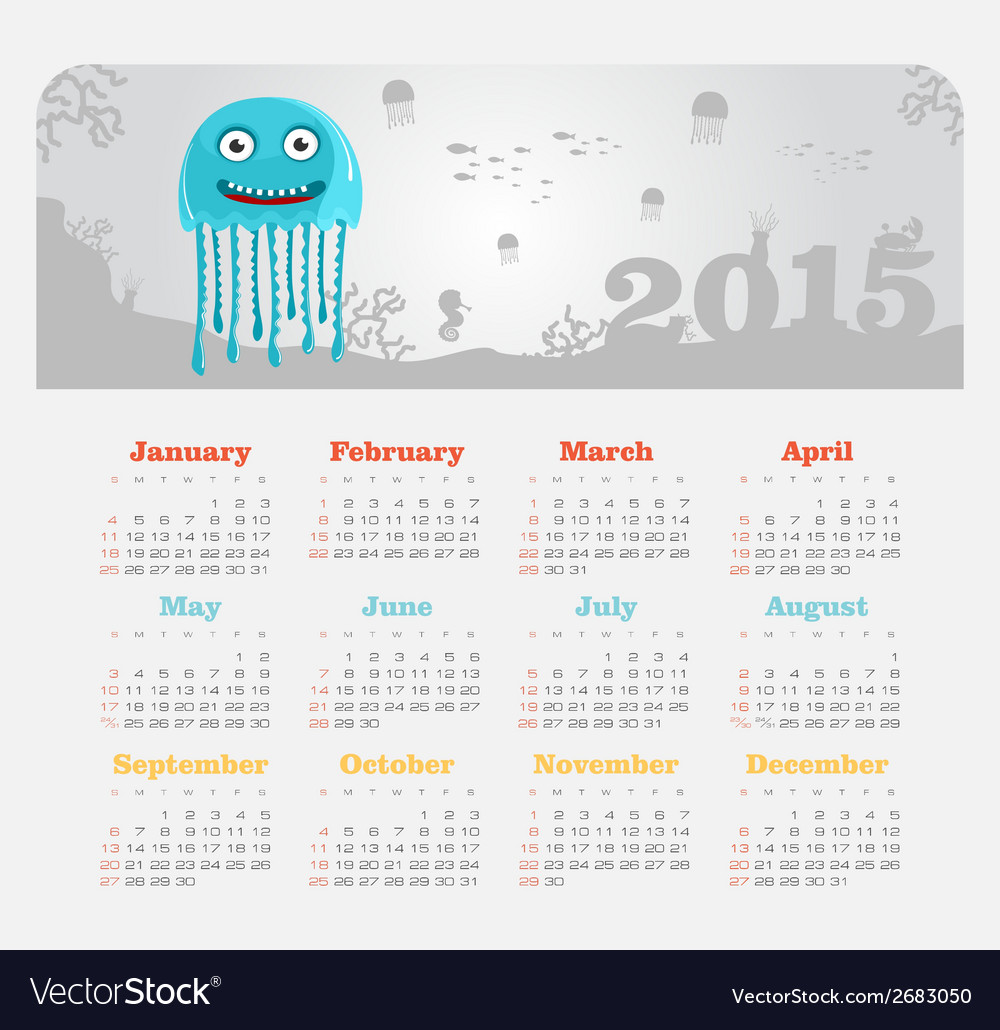 Calendar 2015 year with jellyfish vector | Price: 1 Credit (USD $1)