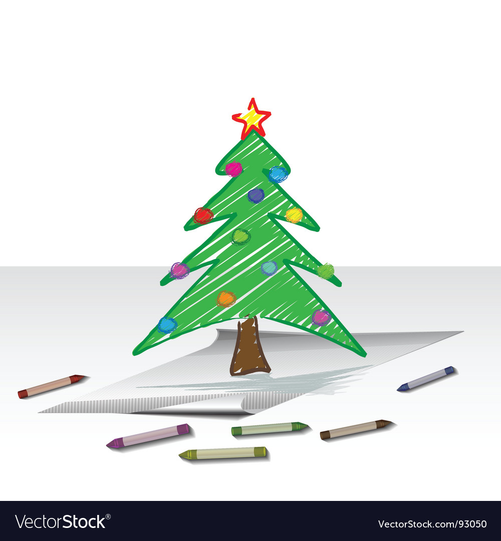 Christmas tree drawing vector | Price: 1 Credit (USD $1)
