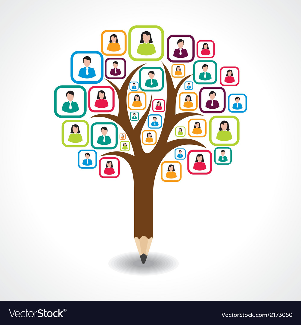 Creative social people tree design concept vector | Price: 1 Credit (USD $1)