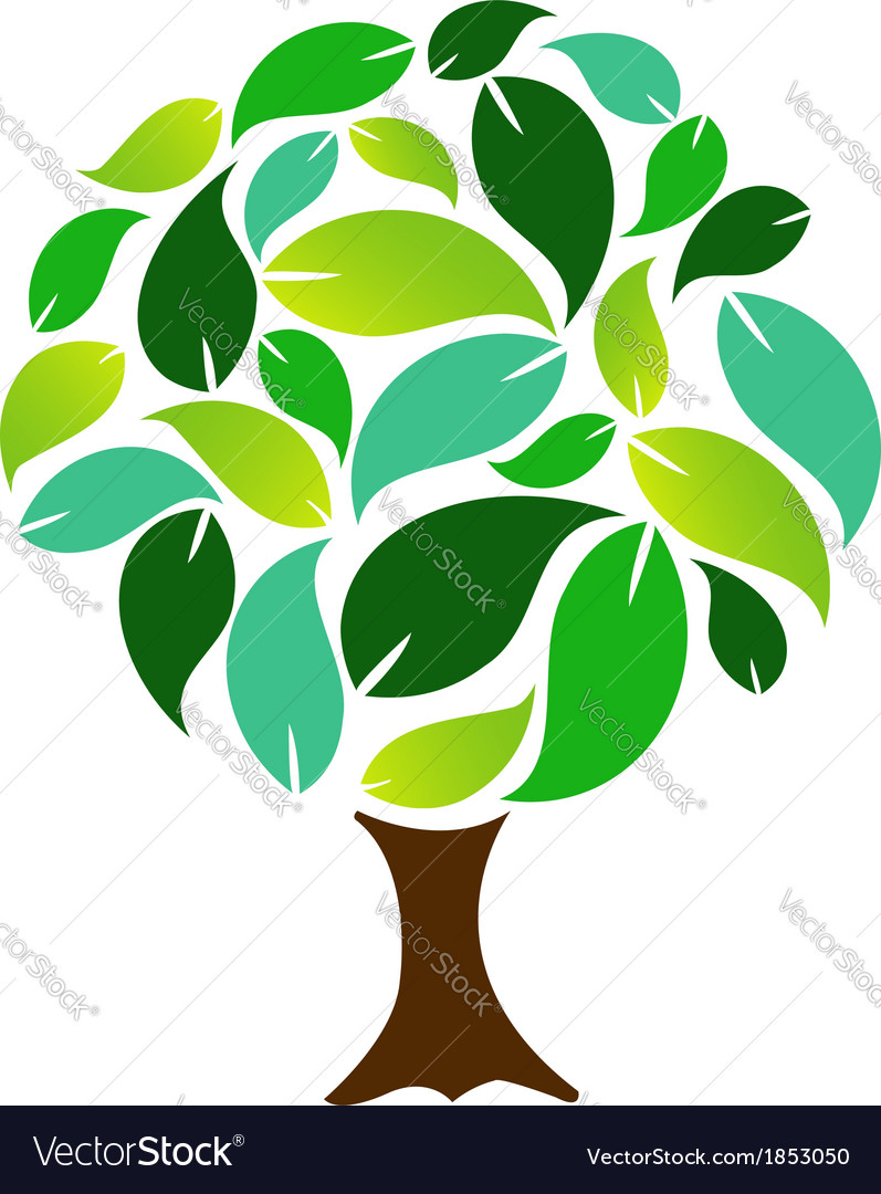 Decorative tree with green leaves vector | Price: 1 Credit (USD $1)
