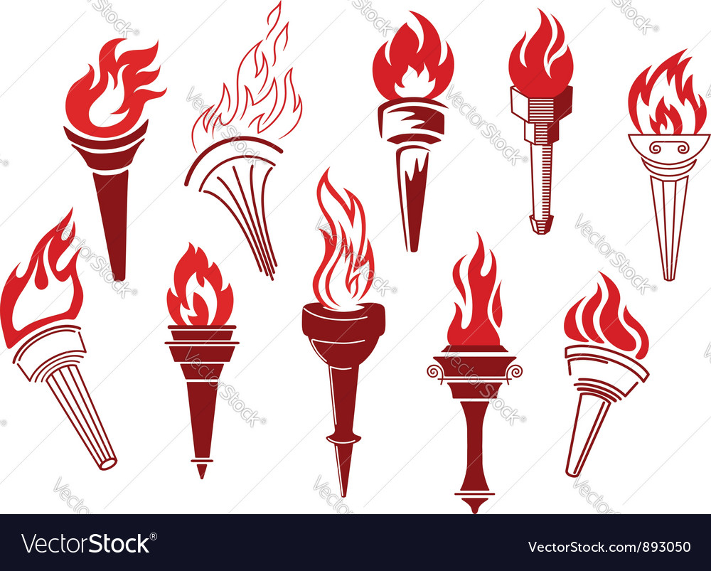 Flaming retro torches vector | Price: 1 Credit (USD $1)