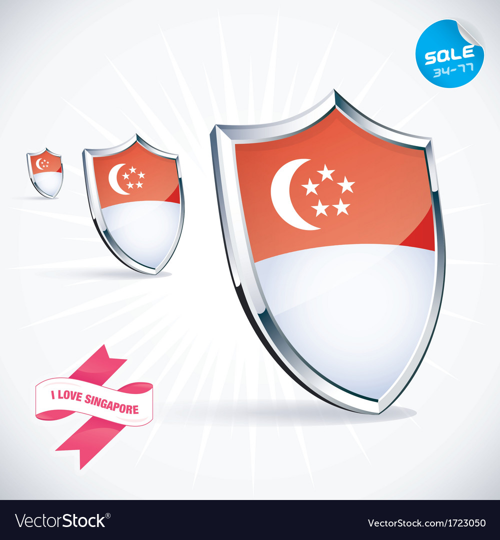 I love singapore flag vector | Price: 1 Credit (USD $1)