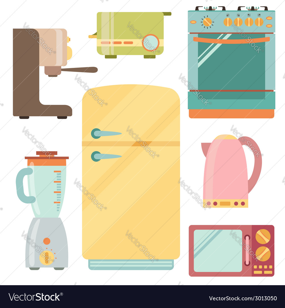 Kitchen appliances icons set kitchenware equipment vector | Price: 1 Credit (USD $1)