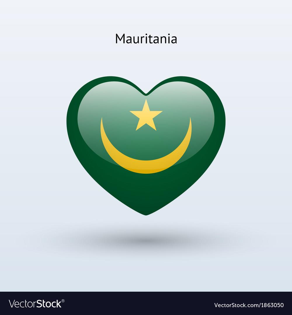 Love mauritania symbol heart flag icon vector | Price: 1 Credit (USD $1)