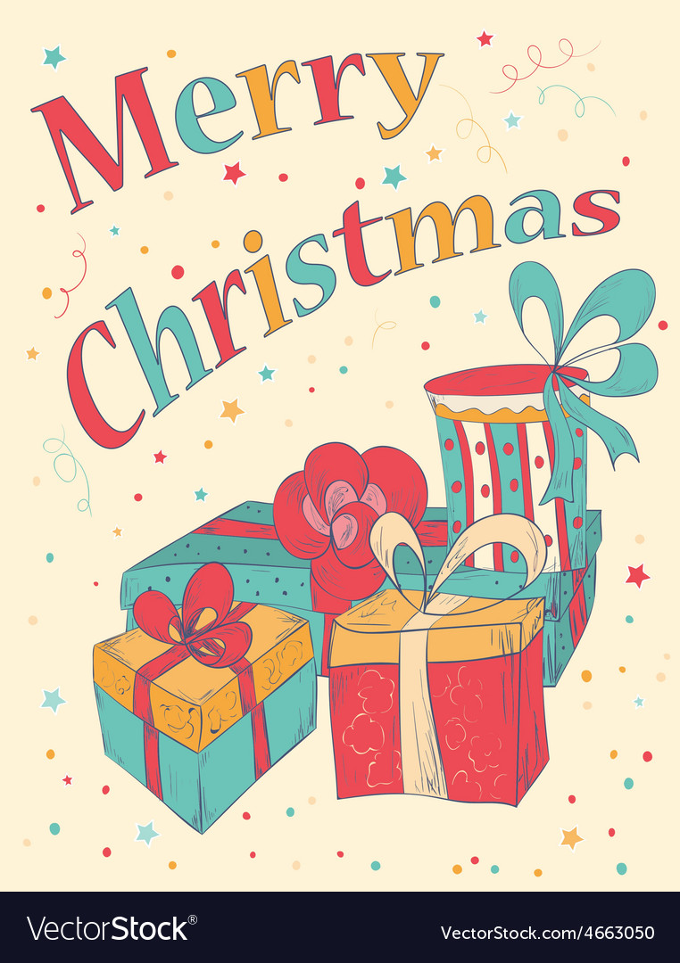 Marry christmas card with hand drawn gift boxes vector | Price: 1 Credit (USD $1)