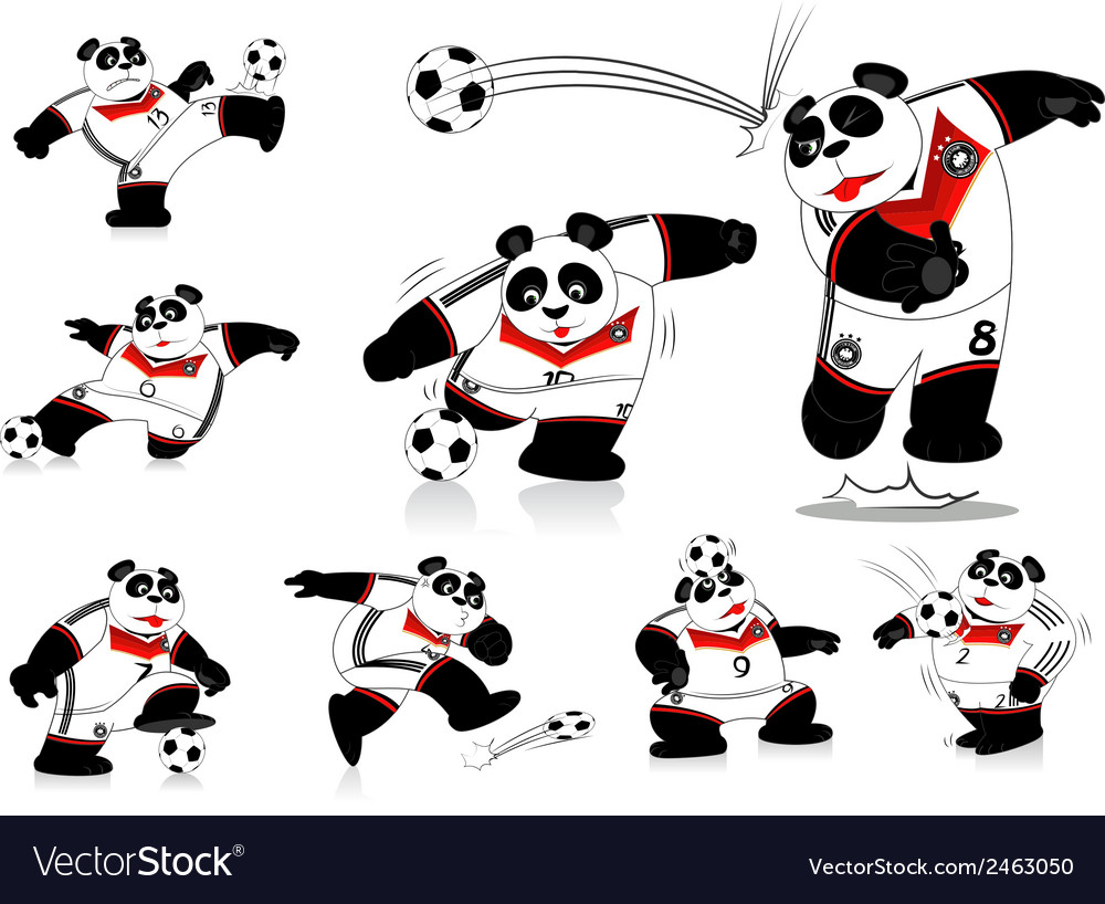 Panda soccer germany all action vector   Price: 1 Credit (USD $1)