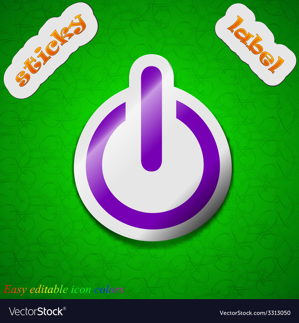 Power icon sign symbol chic colored sticky label vector | Price: 1 Credit (USD $1)