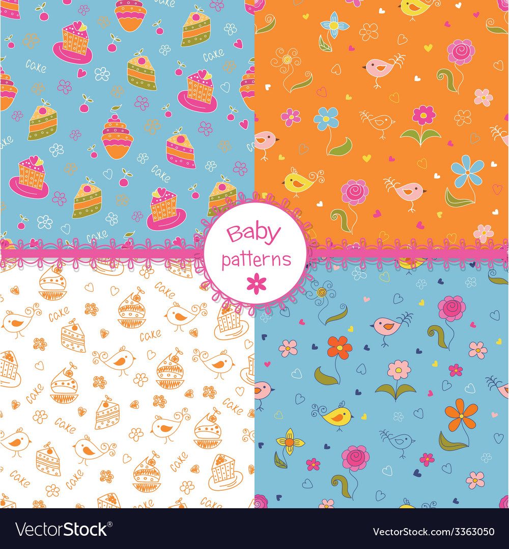 Set of doodle baby patterns vector | Price: 1 Credit (USD $1)