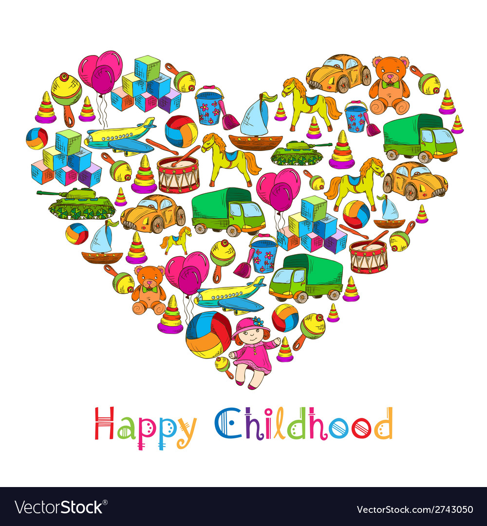 Toys heart happy childhood vector | Price: 1 Credit (USD $1)