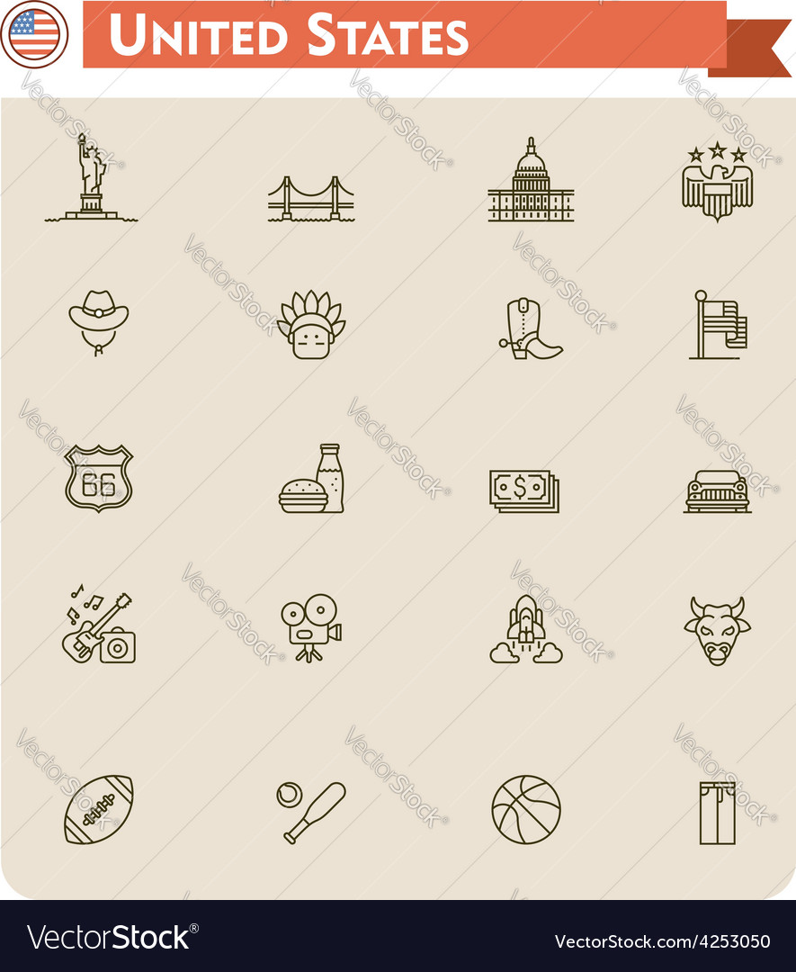 United states travel icon set vector | Price: 1 Credit (USD $1)