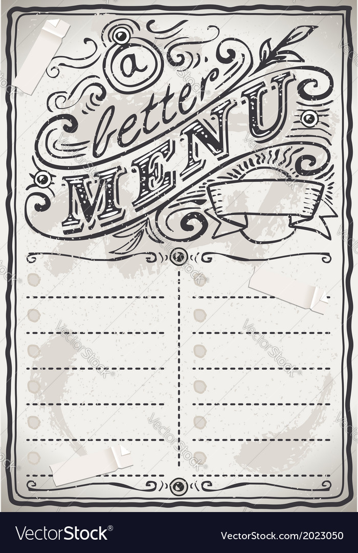 Vintage graphic page menu for restaurant vector | Price: 1 Credit (USD $1)