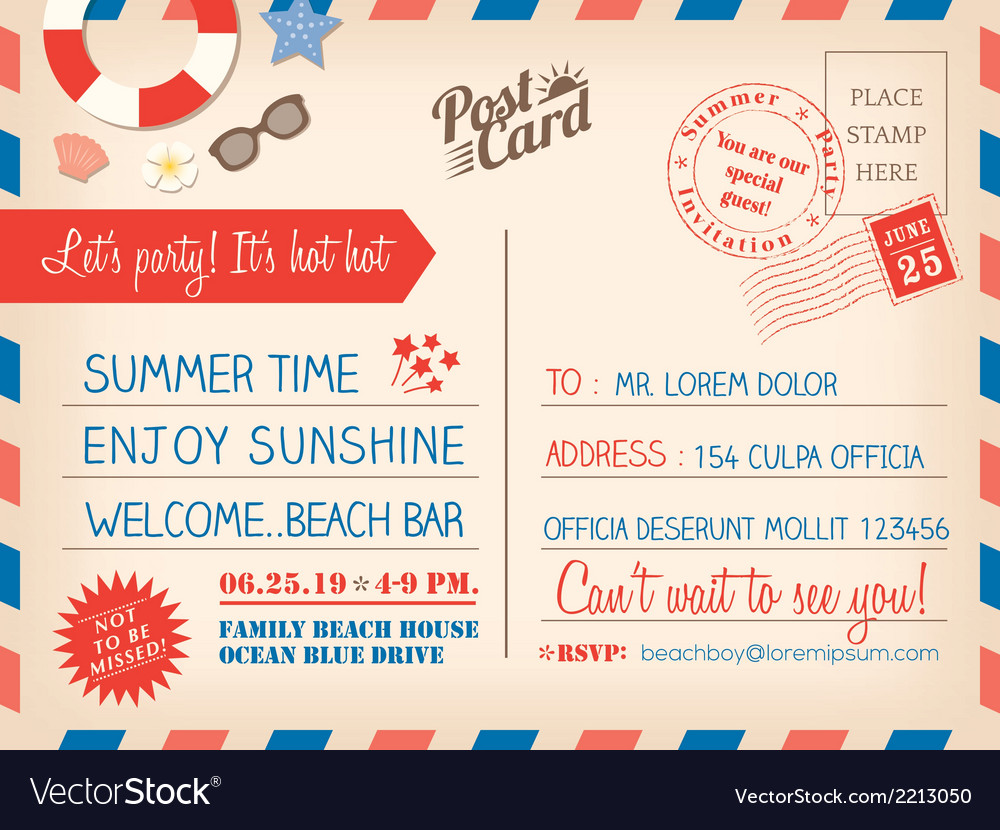 Vintage summer holiday postcard background vector | Price: 1 Credit (USD $1)