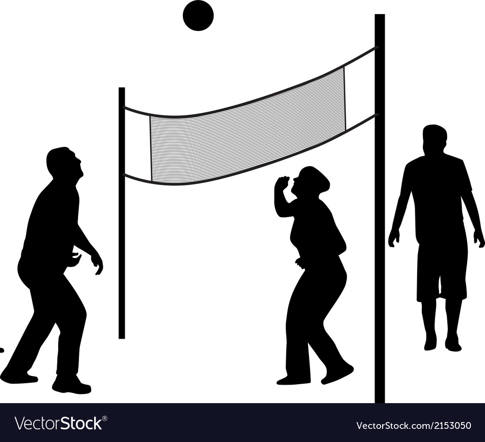 Volleyball game silhouette vector | Price: 1 Credit (USD $1)