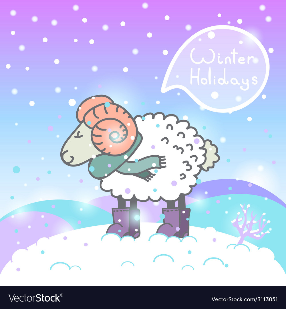 2015 new year card with cartoon sheep and speech vector | Price: 1 Credit (USD $1)