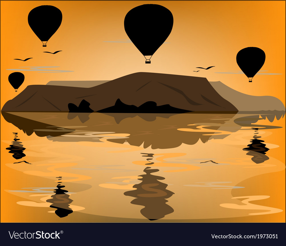 Balloons in cappadocia at dawn sky background vector | Price: 1 Credit (USD $1)