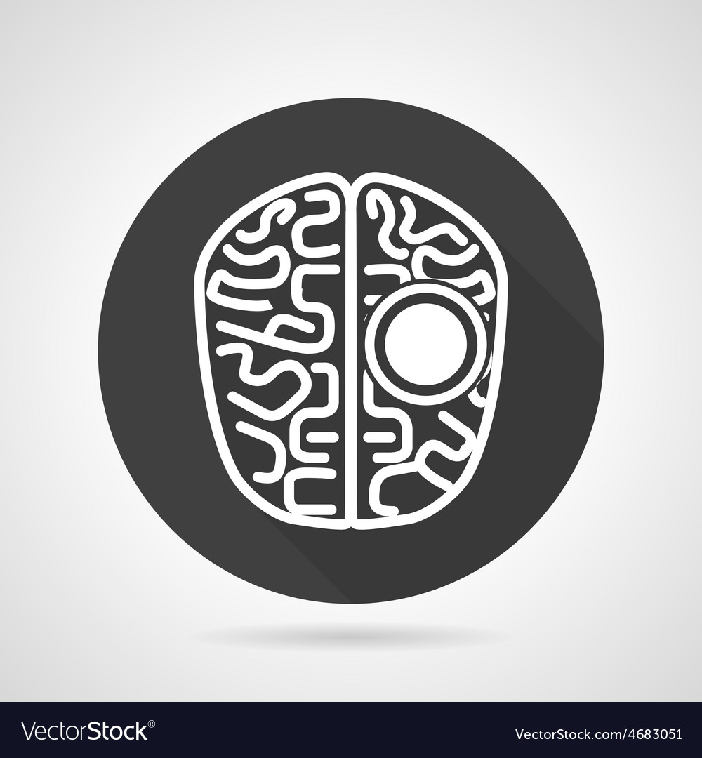 Brain black round icon vector | Price: 1 Credit (USD $1)