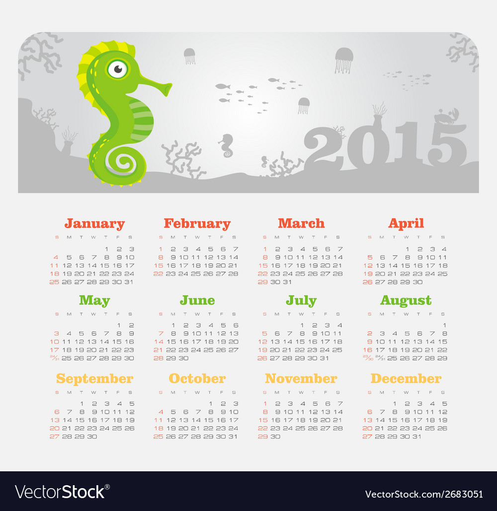 Calendar 2015 year with sea horse vector | Price: 1 Credit (USD $1)