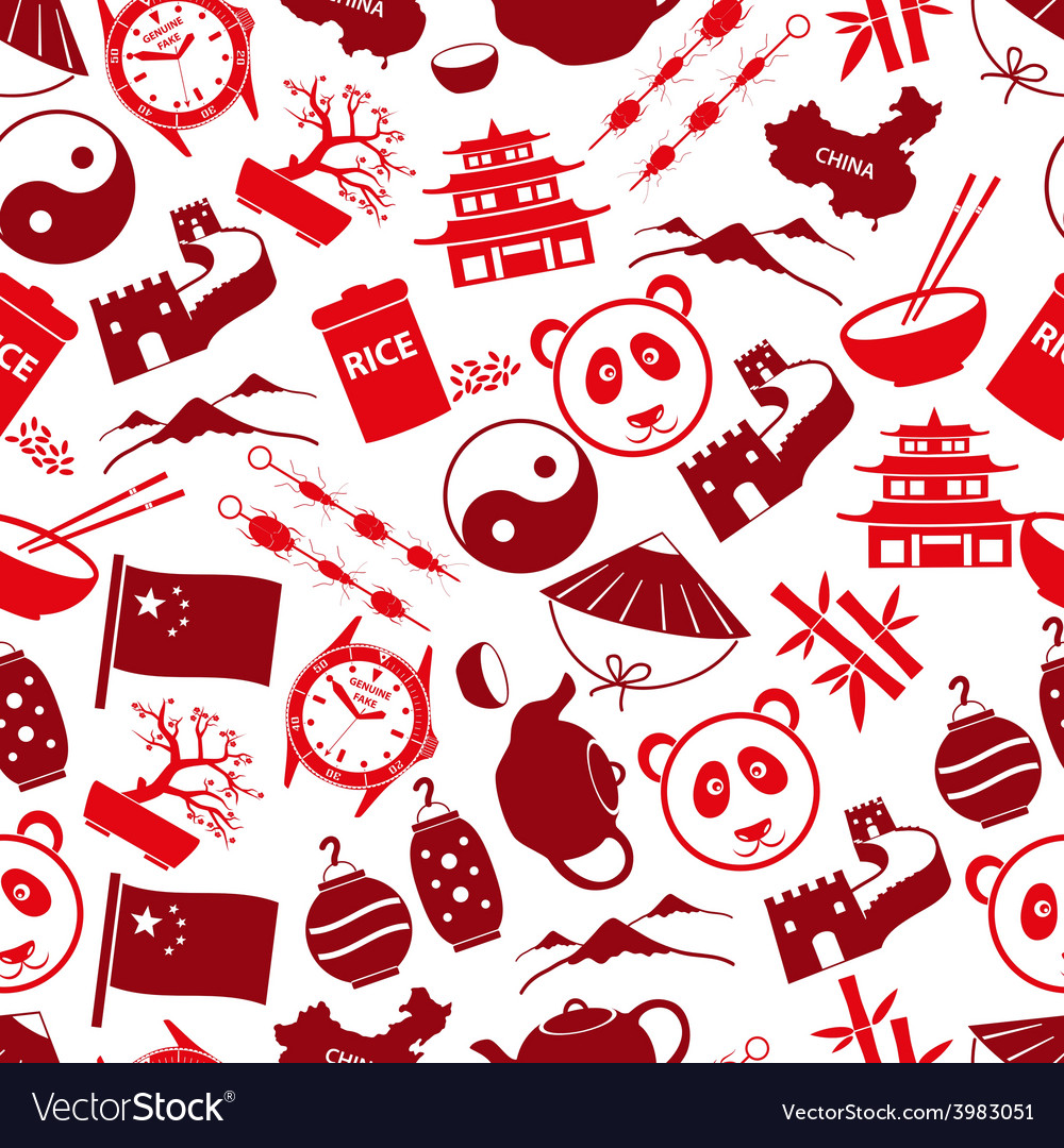 China theme color icons seamless pattern eps10 vector | Price: 1 Credit (USD $1)