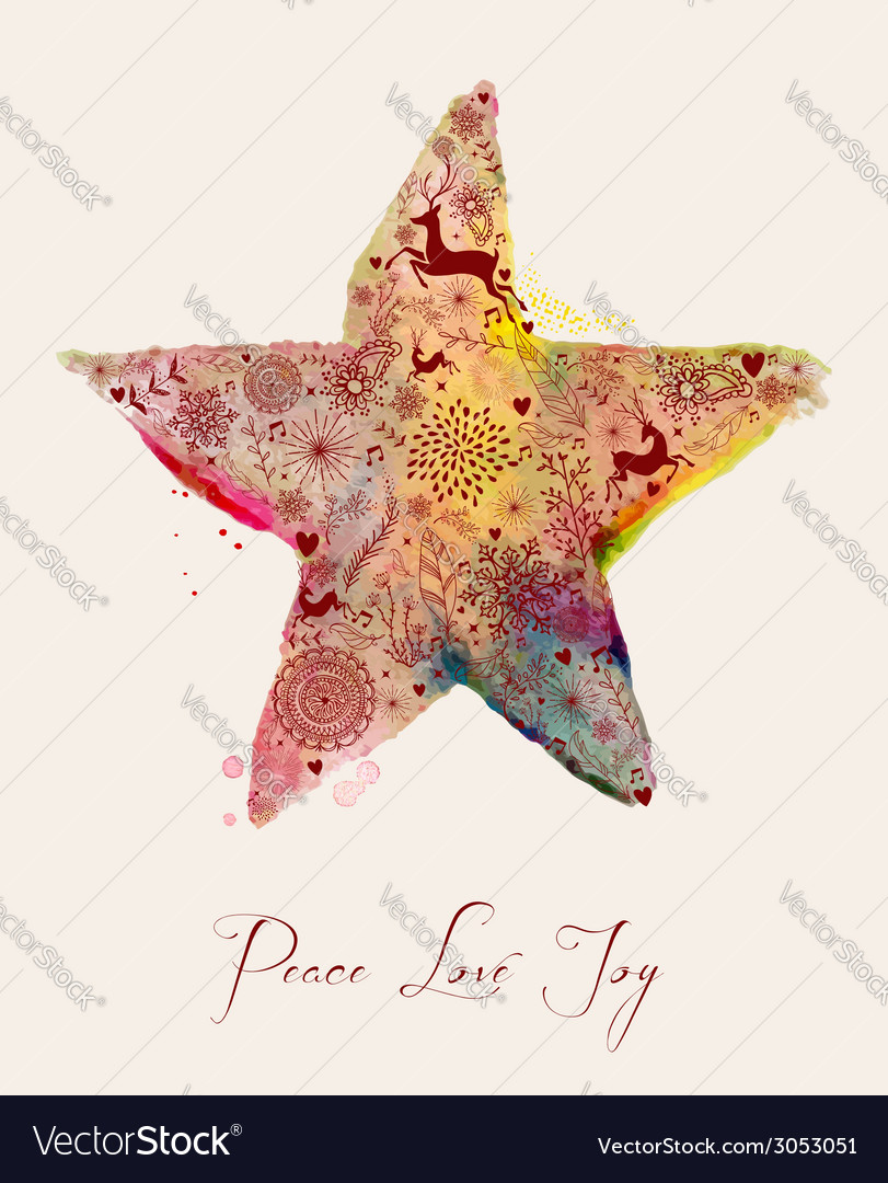 Christmas star watercolor greeting card vector | Price: 1 Credit (USD $1)