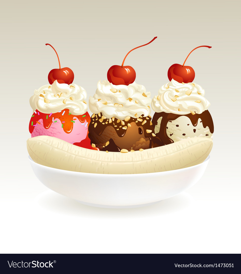 Ice cream banana split vector | Price: 3 Credit (USD $3)