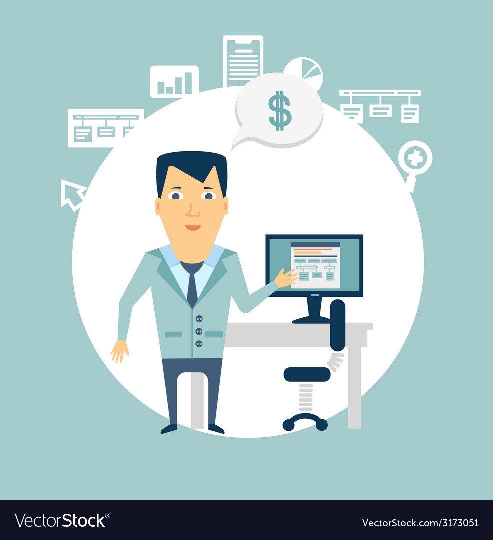 Programmer working at a computer vector   Price: 1 Credit (USD $1)