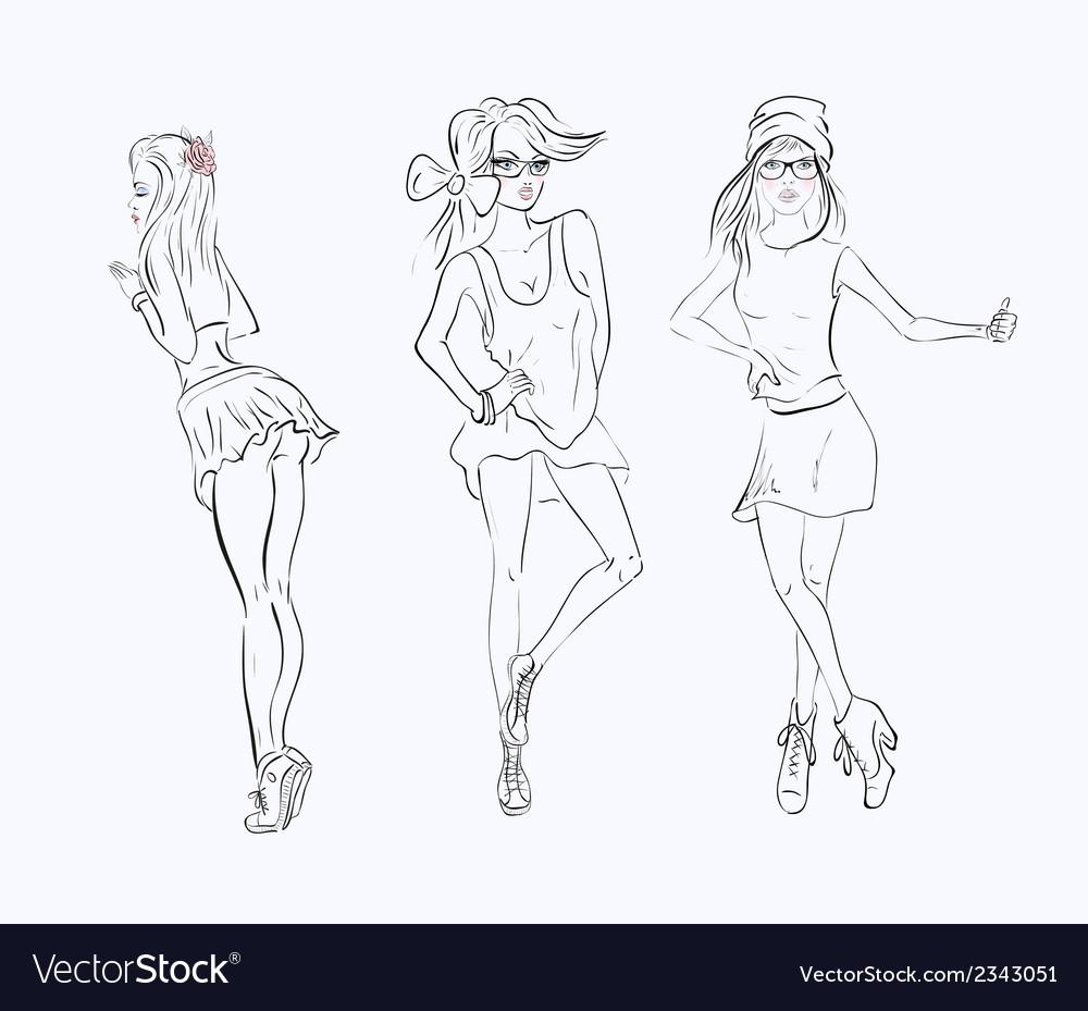 Sketch drawing girl vector | Price: 1 Credit (USD $1)