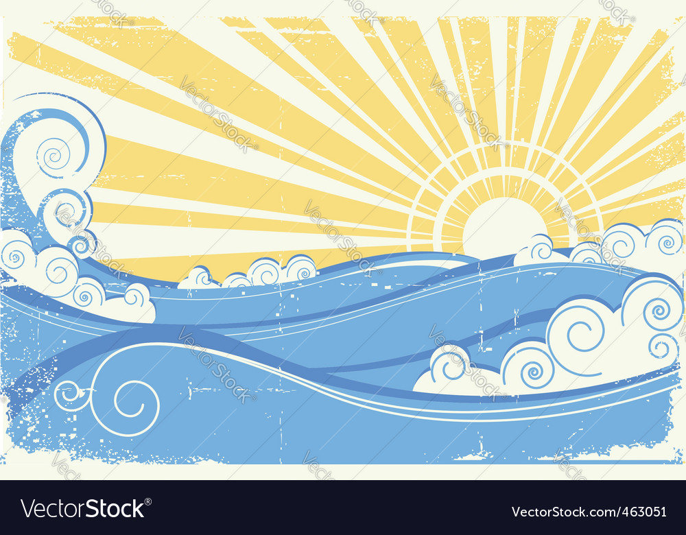 Vintage sea waves vector | Price: 1 Credit (USD $1)