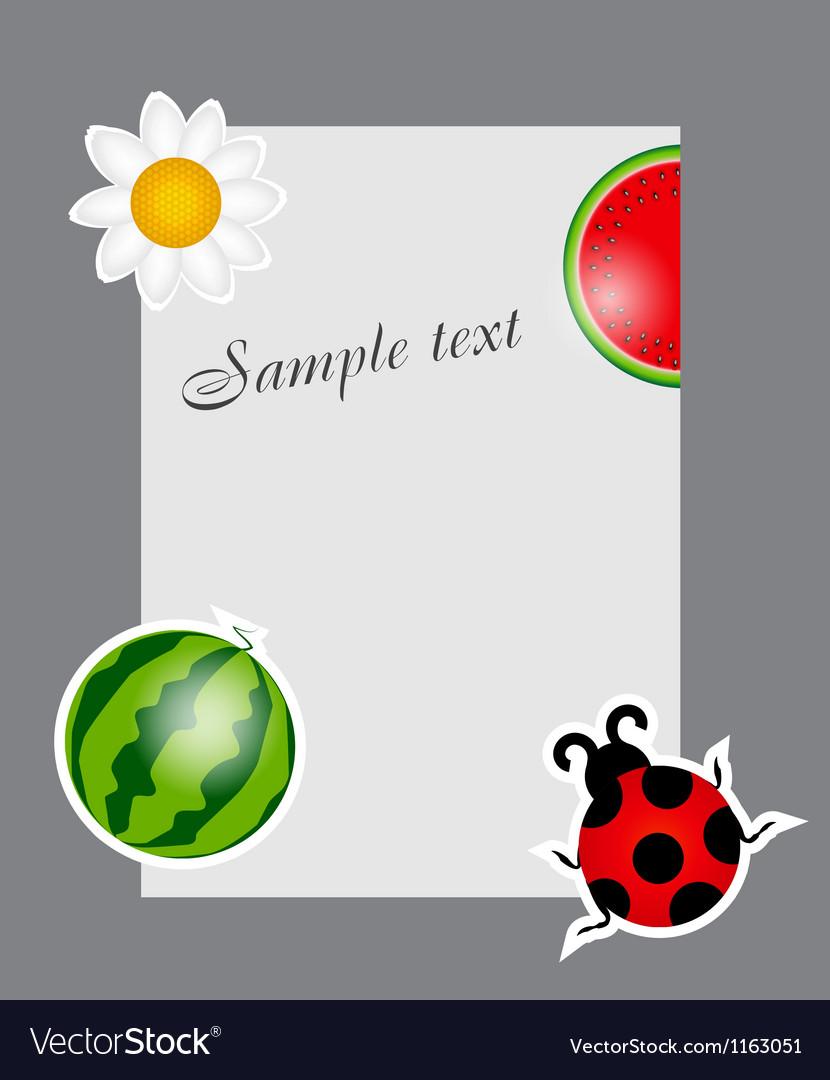 Watermelon ladybug daisy on blank page vector | Price: 1 Credit (USD $1)