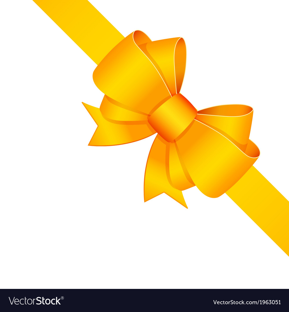Yellow decorative bow with ribbon isolated vector | Price: 1 Credit (USD $1)