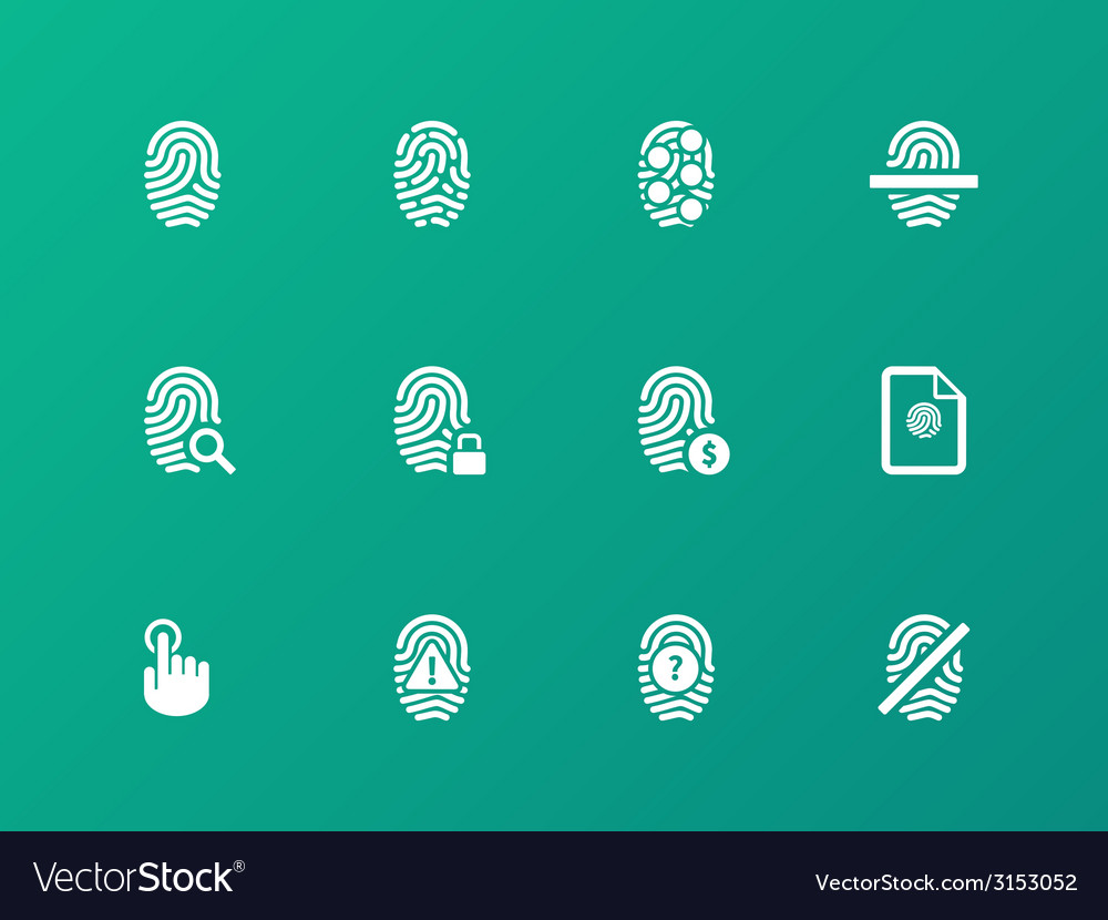 Fingerprint protection icons on green background vector | Price: 1 Credit (USD $1)