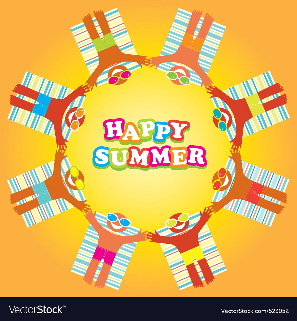 Happy summer beach people vector | Price: 1 Credit (USD $1)