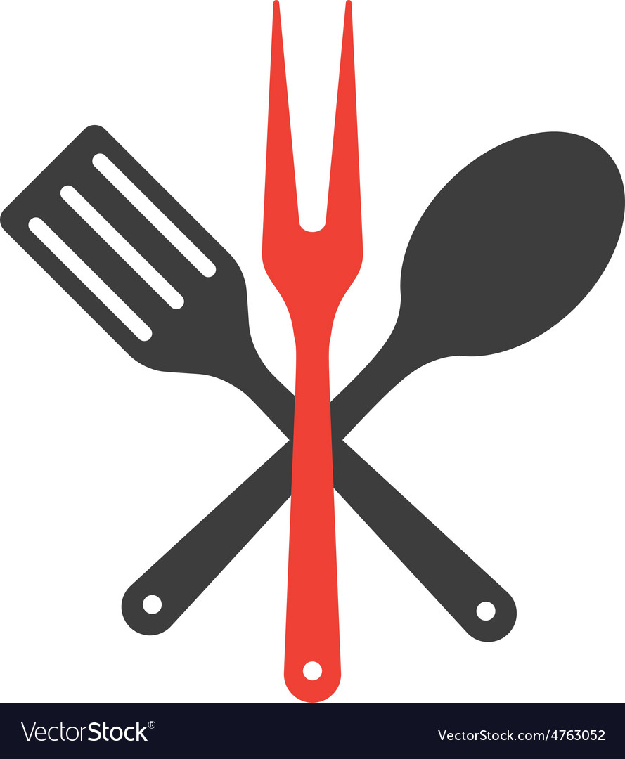 Icon of kitchen tools fork spoon and fry shovel vector | Price: 1 Credit (USD $1)