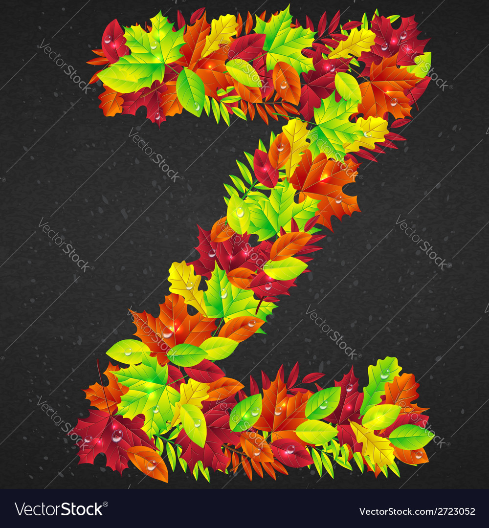 Letters of autumn leaves vector | Price: 1 Credit (USD $1)